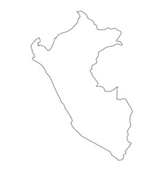 peru - solid black outline border map of country vector image