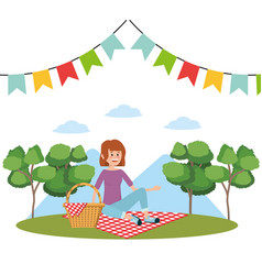 Picnic at park vector