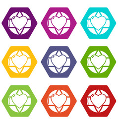 planet heart icons set 9 vector image