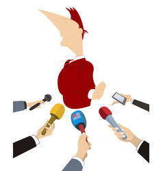 politician does not want to give the interview to vector image