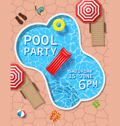 pool party invitation with top view pool vector image