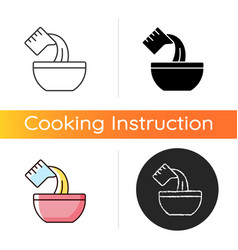 Pour cooking ingredient icon vector