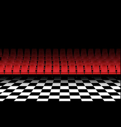 Red chair on tiled floor in hall vector