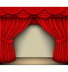 Red silk curtain with shadows and screen vector