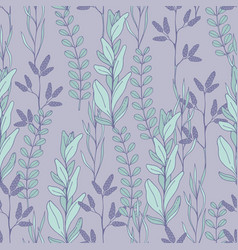 Seamless pattern with plants on a purple vector