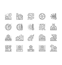 Set natural disaster line icons drought vector