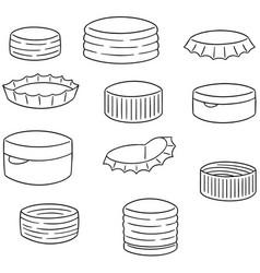 set of bottle cap vector image