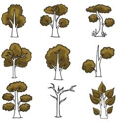 Set of brown tree doodles vector