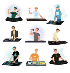 set of dj characters mixing music on turntable on vector image