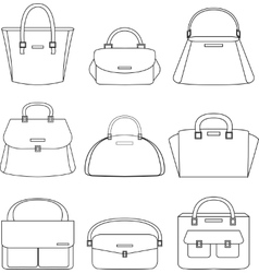 Set of handbags on white background vector