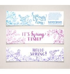 Set of horizontal spring banners vector