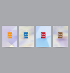 set of template with soft holographic backgrounds vector image