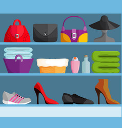 Shelves with female accessories vector
