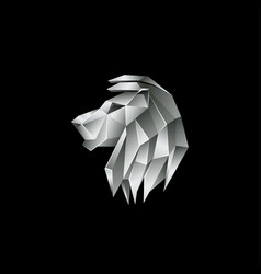 Silver metallic lion logo on a black background vector