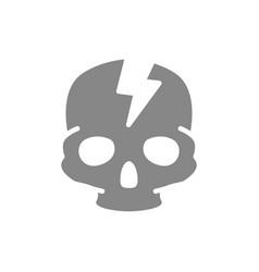 Skull with acute pain grey icon broken cranium vector
