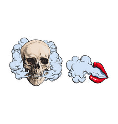 smoke coming out of skull and lips with red vector image