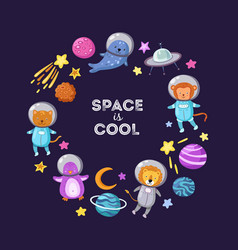 Space animals background cute baby animal vector