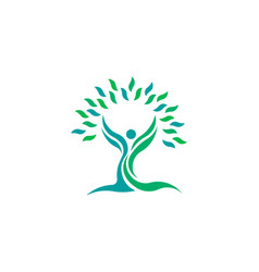 tree nature leaf health people logo symbol vector image