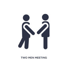 Two men meeting icon on white background simple vector