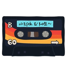 Vintage cassette tape stitched together vector image