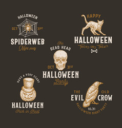Vintage style halloween logos or labels template vector