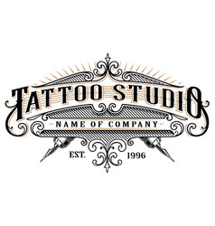 Vintage tattoo studio emblem 2 for white vector