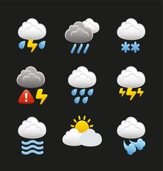 Weather With Clouds Icons vector image