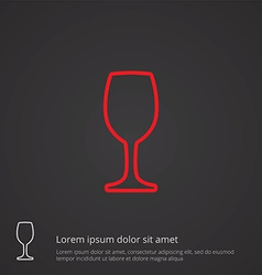 Wineglass outline symbol red on dark background vector