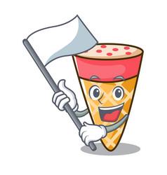 With flag ice cream tone mascot cartoon vector