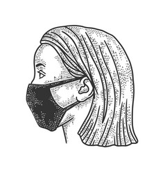 Woman in medical mask sketch vector