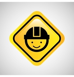 worker man helmet sign yellow icon vector image