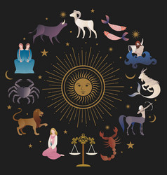 Zodiac signs collections medieval style on starry vector