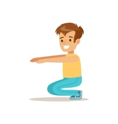 Boy Doing Sit Ups Kid Practicing Different Sports vector image vector image