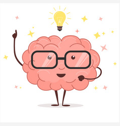 brain with glasses and idea light bulb vector image vector image