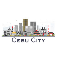 cebu city philippines skyline with gray buildings vector image