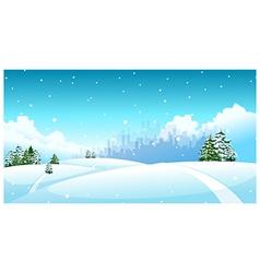 City skyline snow landscape vector image