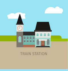 colored train station building vector image vector image