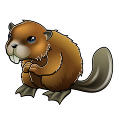 cute beaver vector image vector image