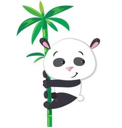 Little panda on bamboo vector image vector image