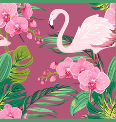 orchid flower flamingo tropical leaves pattern vector image vector image