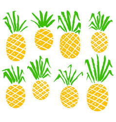 set with pineapples isolated fruits vector image vector image