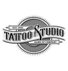 vintage tattoo studio emblem 3 for white vector image