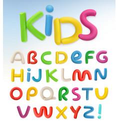 3d plastic font children and school set vector image