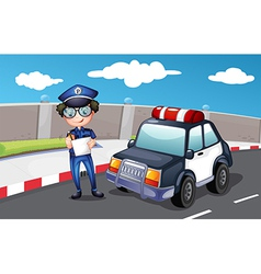 A policeman along the road vector image vector image