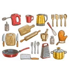 Kitchenware utensil and appliances elements vector image vector image