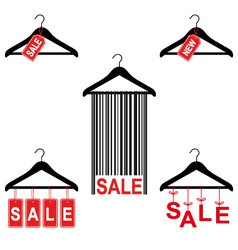 sale tags on clothes hanger set vector image vector image
