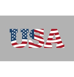 USA flag in text American flag in letters National vector image