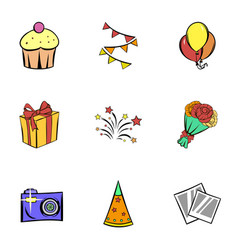 birthday icons set cartoon style vector image vector image