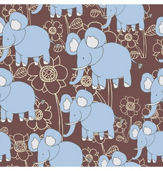 floral elephant pattern vector image vector image