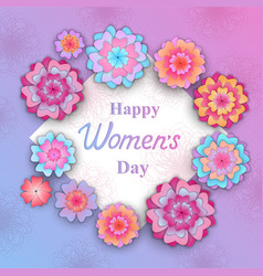 happy womens day flowers in the style of cut vector image